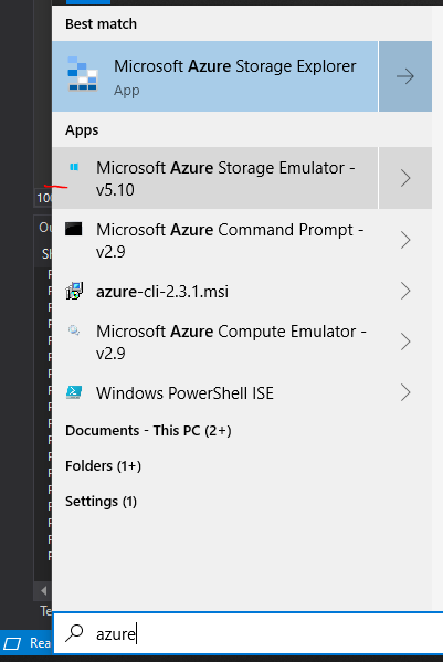 AzureStorageEmulatorOnStartMenu