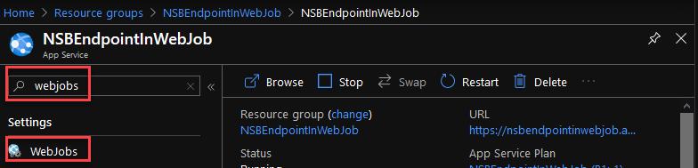 AzurePortalSearchForWebJobInAppService
